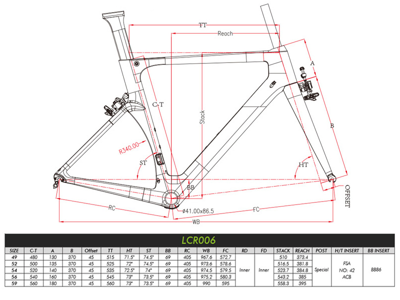 carbon aero road frame geometry
