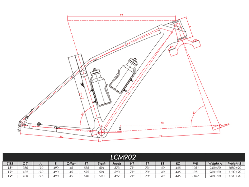 full carbon xc hardtail frame geometry