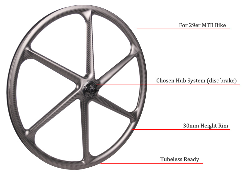 6 spoke carbon wheel mtb